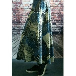 Handmade Skirts - Patchwork Print Swing Circle Maxi Skirt
